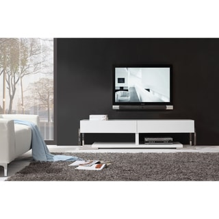 Giovanni White / White Glass Two-drawer Modern TV Stand