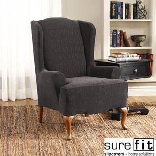 Stretch Links 1-Piece Wing Chair Slipcover