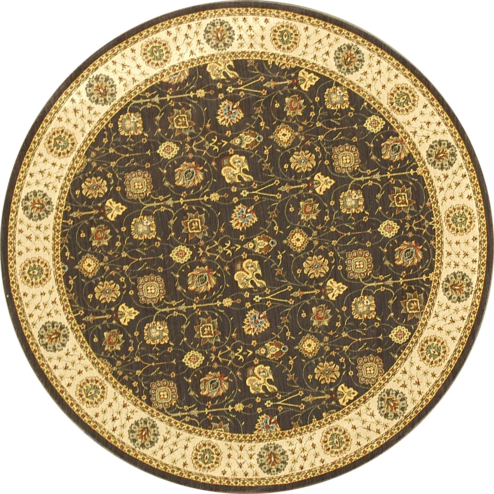 Alexander Home Dorchester Expresso/ Beige Round Powerloomed Rug (5' x 2') at Sears.com