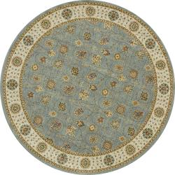 Dorchester Steel/ Beige Round Powerloomed Rug (7' x 7')