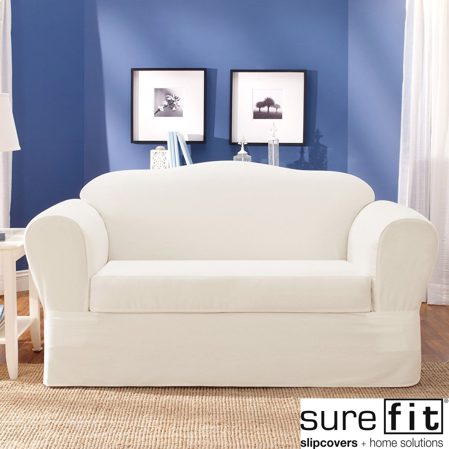 sure fit twill supreme 2 piece sofa slipcover overstock shopping