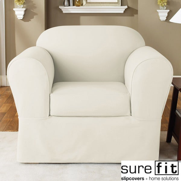Sure Fit Twill Supreme 2 Piece Chair Slipcover