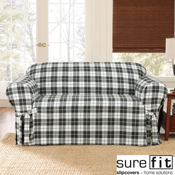 Sure Fit Soft Suede Plaid Sofa Slipcover