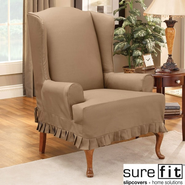sure fit colette wing chair slipcover in cocoa 13993288 overstock