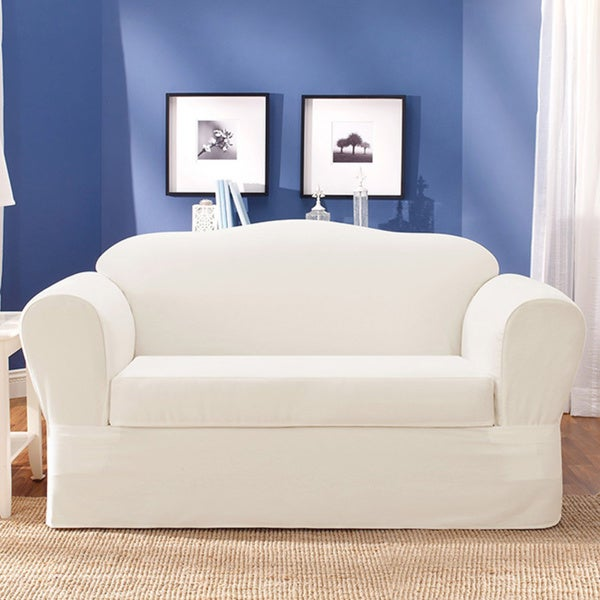 Sure Fit Twill Supreme 2 Piece Loveseat Slipcover 13993276 Overstock Shopping Big