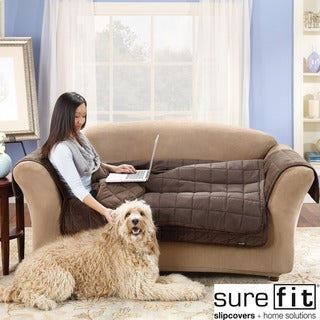 Sure Fit Quilted Suede Deluxe Sofa Throw in Chocolate