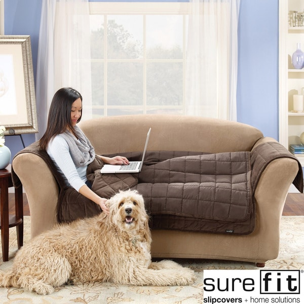 Sure Fit Quilted Suede Deluxe Loveseat Throw Cover in Chocolate