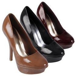 Journee Collection Women's 'Dash' Patent Round Toe Platform Stilettos