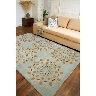 Hand-tufted Contemporary Green Circles Beauty New Zealand Wool Abstract Rug (2' x 3')