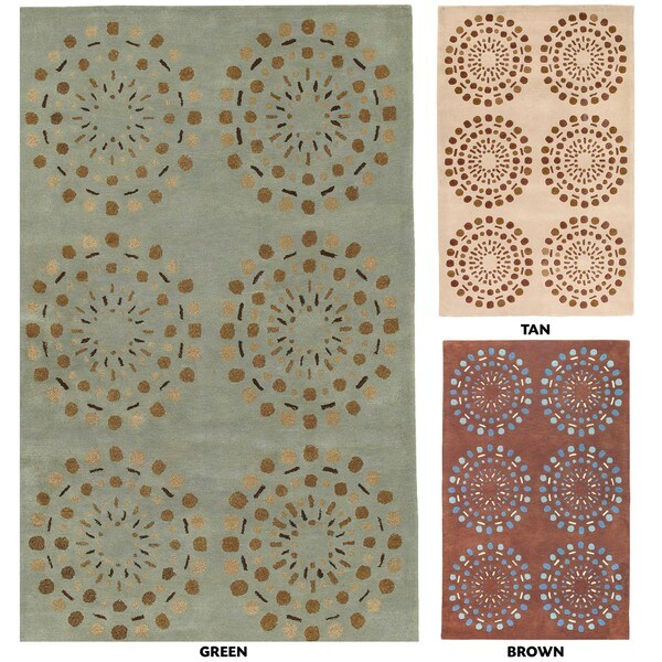 Hand-tufted Contemporary Green Circles Beauty New Zealand Wool Abstract Rug (9' x 13')