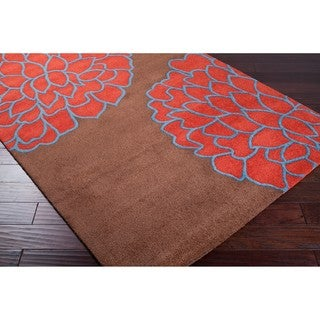 Hand-tufted Contemporary /Blue Glacier New Zealand Wool Abstract Rug (8' x 11')