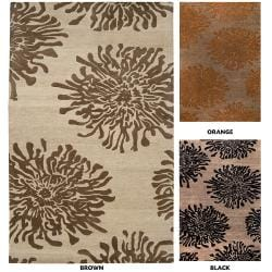 Hand-tufted Contemporary Brown/Orange Mountain New Zealand Wool Abstract Rug (5' x 8')