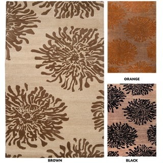 Hand-tufted Contemporary Brown/Orange Mountain New Zealand Wool Abstract Rug (8' x 11')