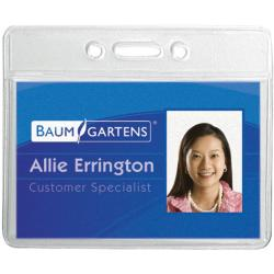 Baumgartens Horizontal Clear Badge Holder (Pack of 12)