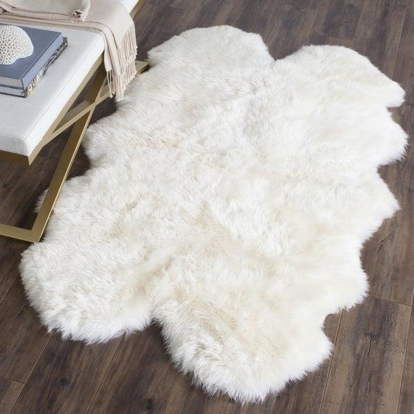 Safavieh Prairie Sheepskin Wool White Shag Rug 2 X 3