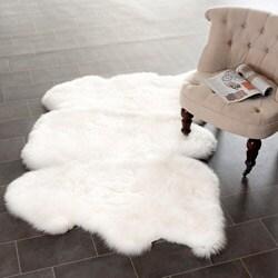 Safavieh Prairie Sheepskin/ Wool White Shag Rug (3' x 5')