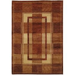 Hand-knotted Selaro Grids Brown/ Beige Wool Rug (7'9 x 9'9)