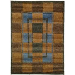 Hand-knotted Selaro Grids Brown/ Blue Wool Rug (7'9 x 9'9)