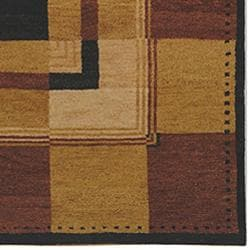 Hand-knotted Selaro Grids Brown/ Black Wool Rug (3' x 5')