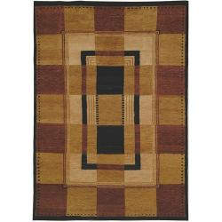 Hand-knotted Selaro Grids Brown/ Black Wool Rug (7'9 x 9'9)
