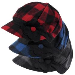 Journee Collection Women's Flower Accent Plaid Newsboy Cap
