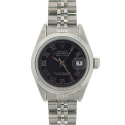 Pre-Owned Rolex Women's Stainless Steel Datejust Black Roman Dial Watch