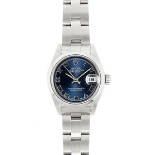 Pre-owned Rolex Women's Model 69160 Datejust 26mm Stainless Steel Blue Roman Dial Watch