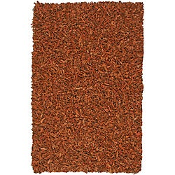 Hand Tied Pelle Copper Leather Shag Rug (8' x 10')