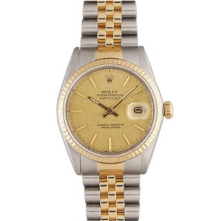 Pre-Owned Rolex Men's Datejust Two-Tone Champagne-Florentine-Dial Stainless-Steel Watch
