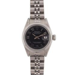 Pre-owned Rolex Women's Datejust Stainless Steel Black Roman Dial Watch