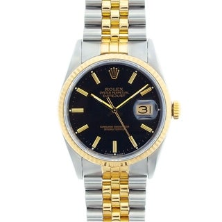 Pre-Owned Rolex Men's Datejust Two-Tone Black-Dial Automatic Watch