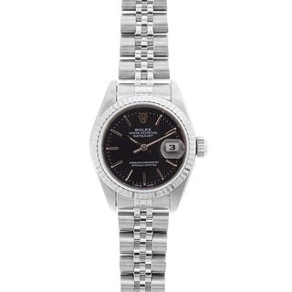 Pre-owned Rolex Women's Datejust White Gold Black Tapestry Dial Watch