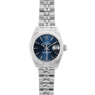 Pre-owned Rolex Women's Datejust White Gold Blue Dial Watch