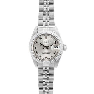 Pre-owned Rolex Women's Datejust White Gold Grey Roman Dial Watch