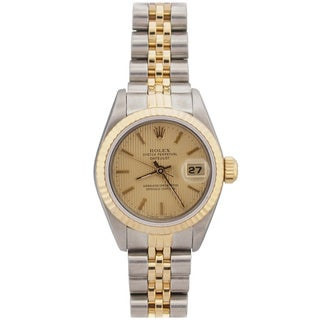 Pre-owned Rolex Women's Datejust Two-tone Champagne Tapestry Dial Watch