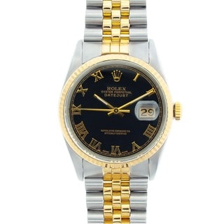 Pre-owned Rolex Men's Datejust Two-tone Black Roman Dial Watch