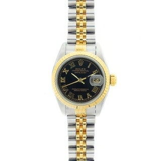 Pre-owned Rolex Women's Datejust Two-tone Black Roman Dial Watch