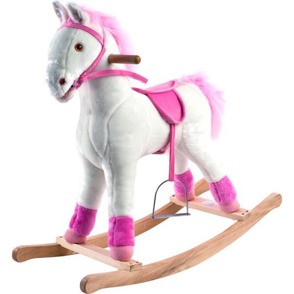 Happy Trails White and Pink Plush Rocking Pony 8619886