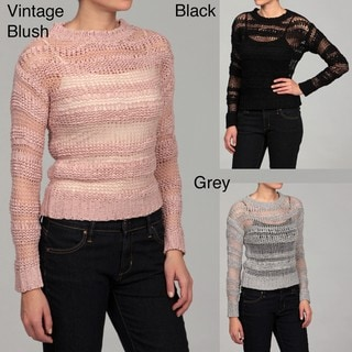 JJ Basics Juniors Knit Ribbed Detail Sweater