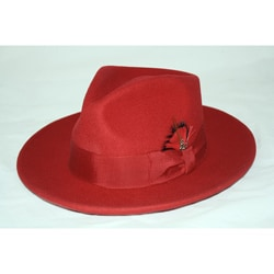 Ferrecci Men's Red Wool Fedora Hat