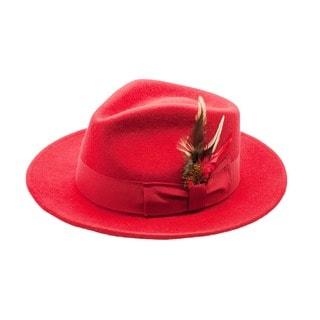 Ferrecci Men's Red Wool Fedora Hat