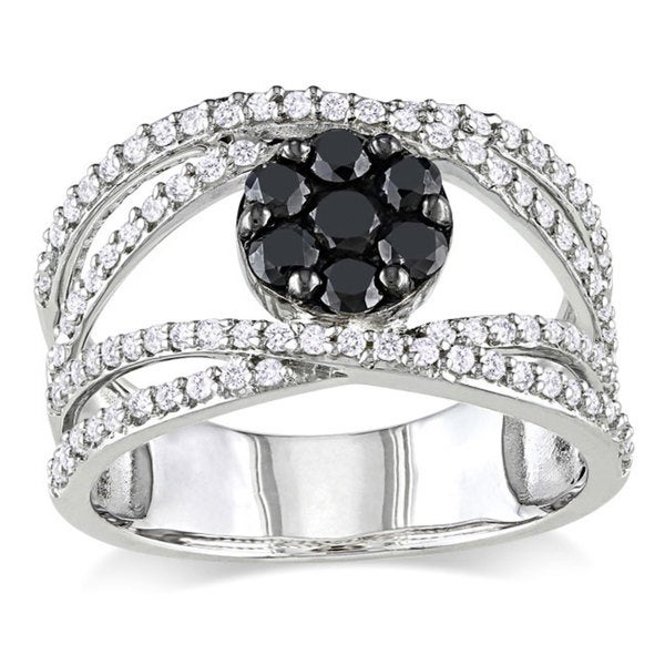 Miadora Sterling Silver 1ct TDW Black and White Diamond Accent Ring (G-H, I2-I3)