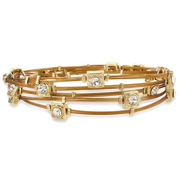 Goldtone Copper Colored Wire and Crystal Bangle Set