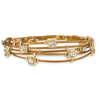 West Coast Jewelry Goldtone Copper Colored Wire and Crystal Bangle Set