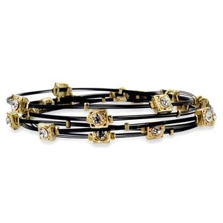 West Coast Jewelry Goldtone and Black Wire Crystal Bangle Set