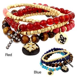 West Coast Jewelry Warm Multi-colored Bead Fleur de Lis and Cross Stretch Bangles