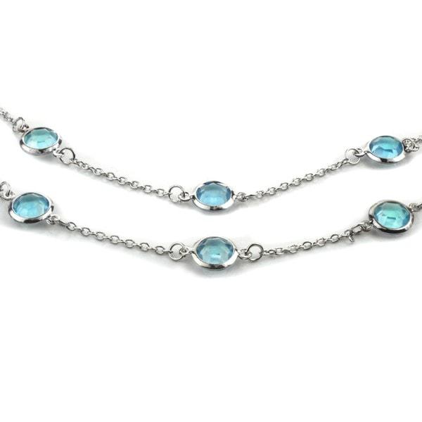 West Coast Jewelry ELYA Designs Silvertone Aqua Crystal Double Strand Necklace