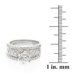 Icz Stonez Rhodiumplated Cubic Zirconia 2ct TGW Bridal Ring Set
