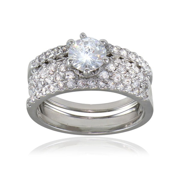 Icz Stonez Rhodiumplated Cubic Zirconia 2ct TGW Bridal Ring Set