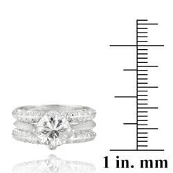 Icz Stonez Rhodiumplated Cubic Zirconia 4 1/10ct TGW Bridal Ring Set